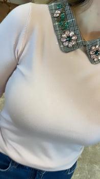 Tricot Luxo gola bordada