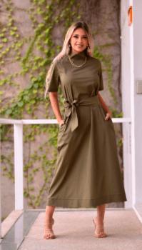 Vestido Evasê tricoline - Faixa