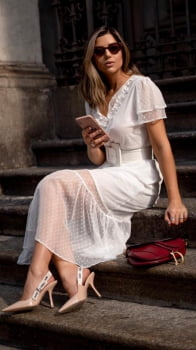 Vestido Branco em tule