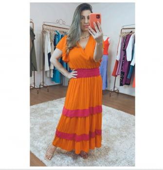 Vestido laranja e Pink Verão