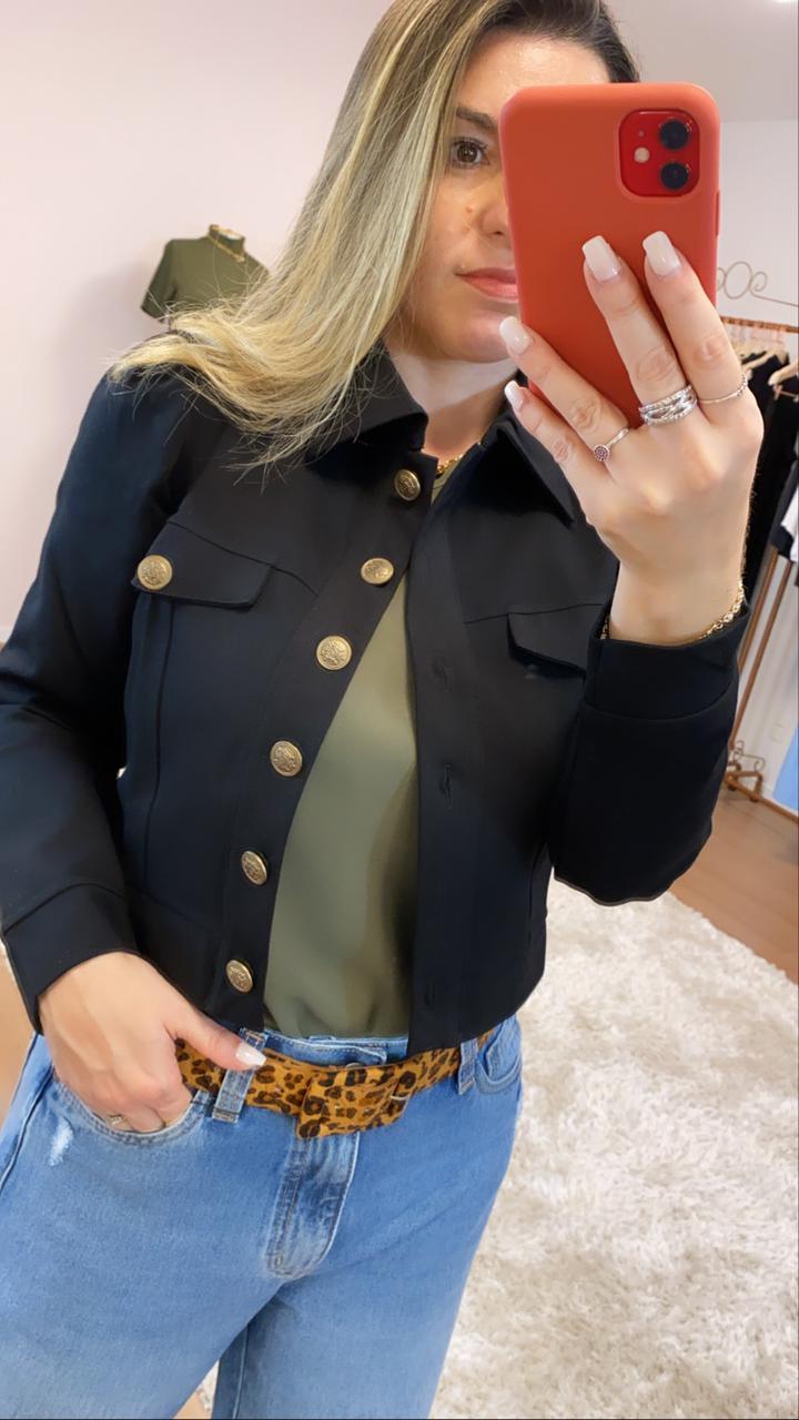Jaqueta ponto roma com elastano